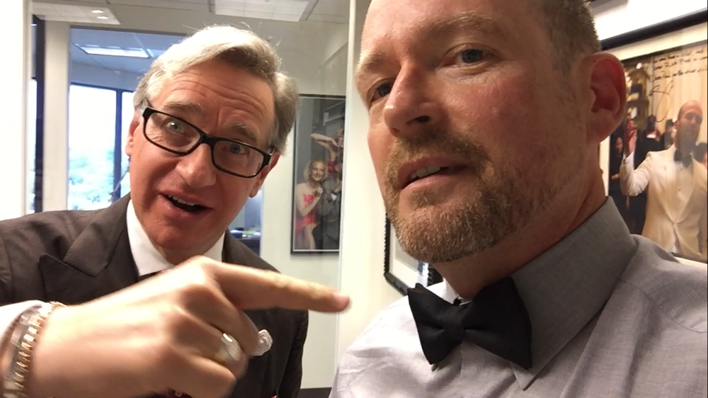 Paul Feig pointing at Larry Morgan's bow tie...hilarity ensues...
