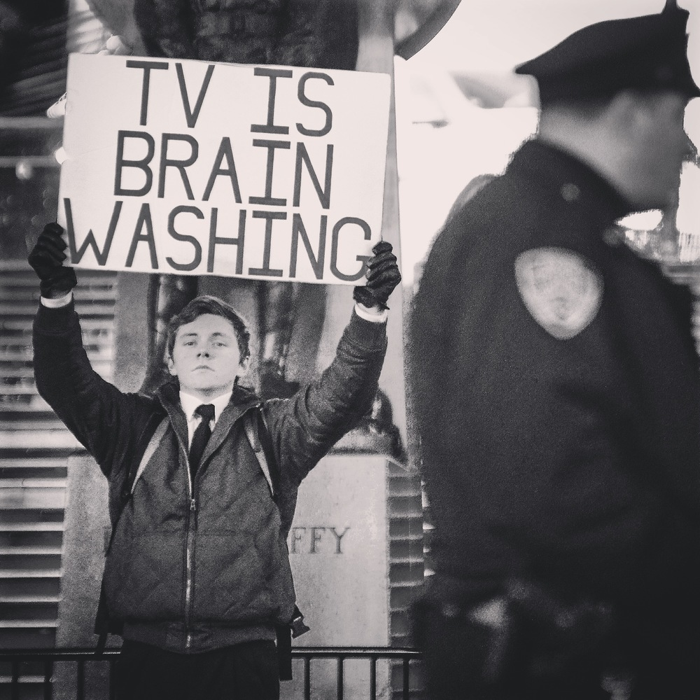 TV is Brain Washing guy, Times Square, Fall 2014
