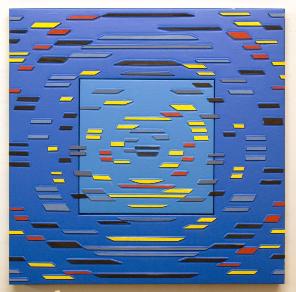 'Color Runs Prime', Poured Acrylic Paint and Wood on Panel, 35 x 35 in, 2011