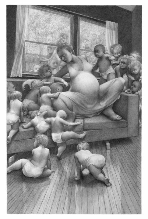 """Parasites, 22""""x15,"""" Graphite on Rives BFK, 2013"""