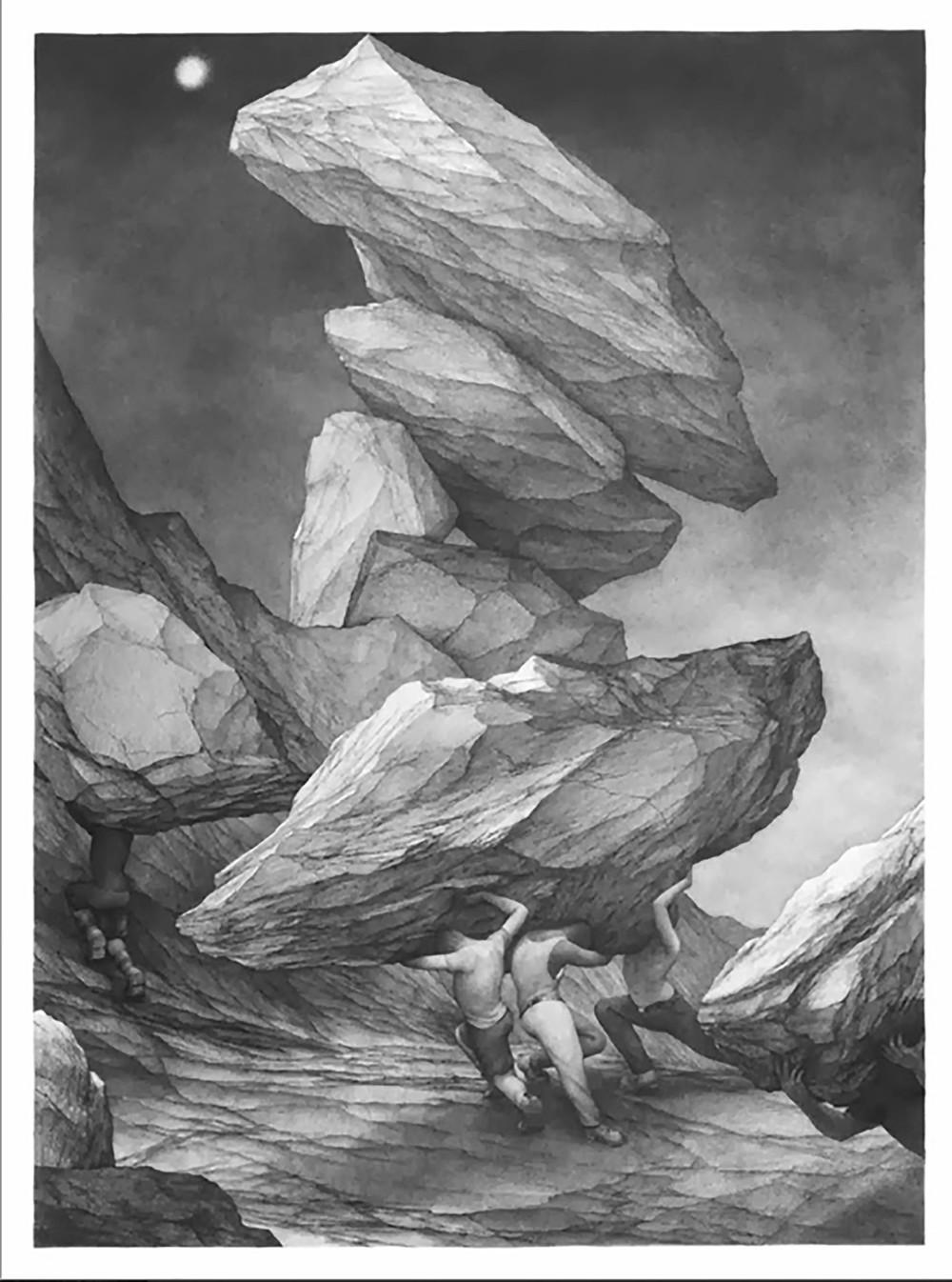 "Ants, 30""x22,"" Graphite on Rives BFK, 2013"