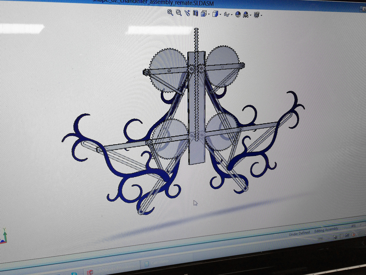 Solidworks modeling for  Kinetic Chandelier
