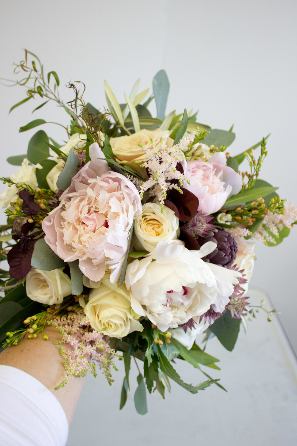 Bridal Bouquet with Peonies, Garden Rose, Artichoke, Waxflower, Astilbe, Astrantia, and Various Greenery