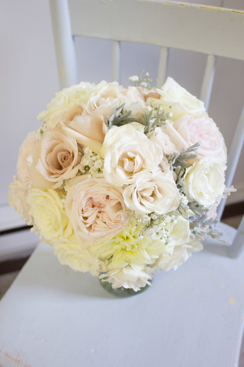 Brides Bouquet: Garden roses, dahlias, baby's breath, roses, freshly picked dusty miller from my garden!