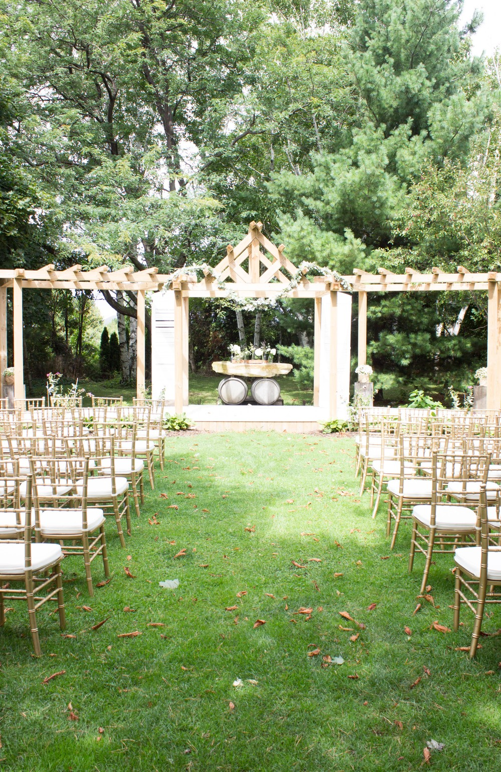 The gorgeous outdoor ceremony garden.