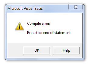 Visual Basic Editor Compile Error Dialog