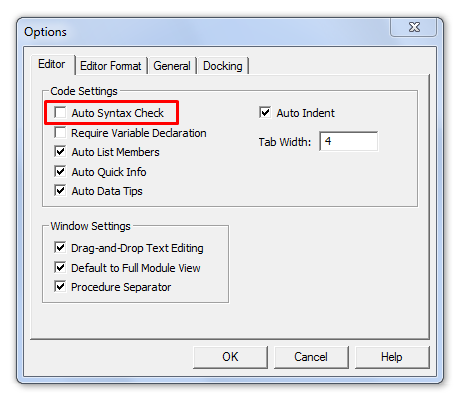 Remove VBA Error Alerts Auto Syntax Check Excel VBA Macros