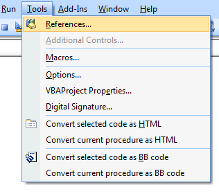 Tools References VBA Excel