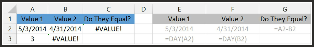 Excel says numbers or text not found or equal