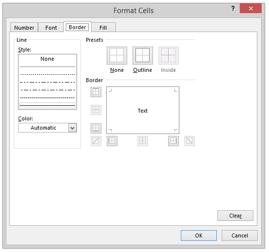 Format Cells Dialog Excel Conditional Formatting Border Tab