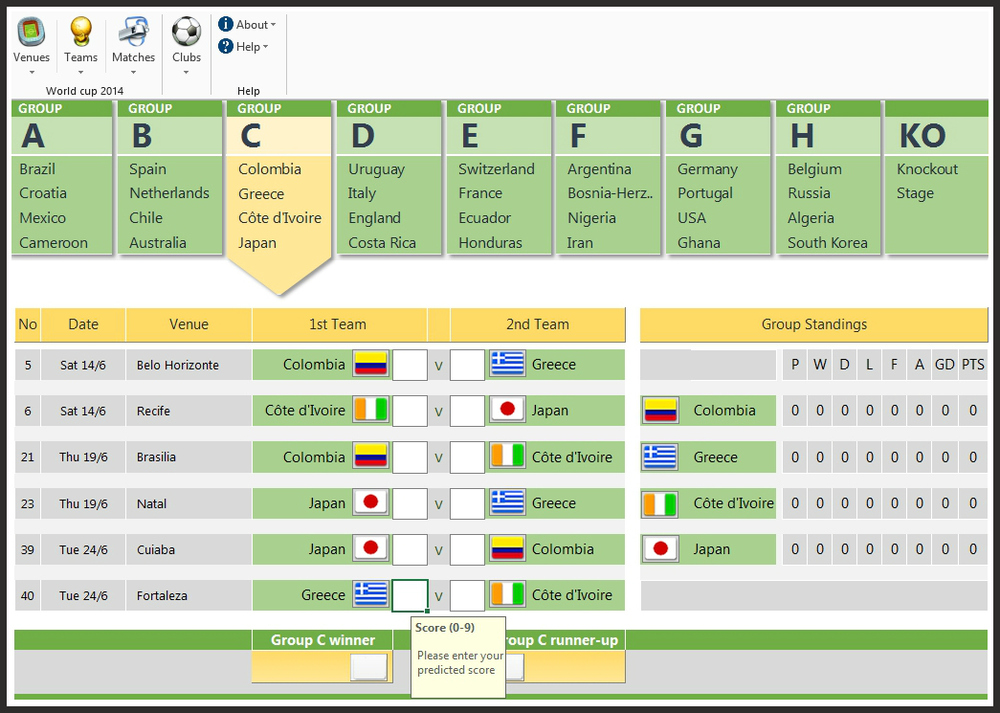 Fifa 2014 world cup brazil predictions excel spreadsheet for Table design tab excel
