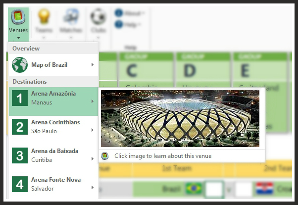 FIFA 2014 World Cup Brazil Excel Predictions Template Soccer Field Venues