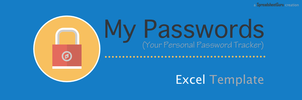 My Passwords Excel Username & Password Tracking Log Spreadsheet Template
