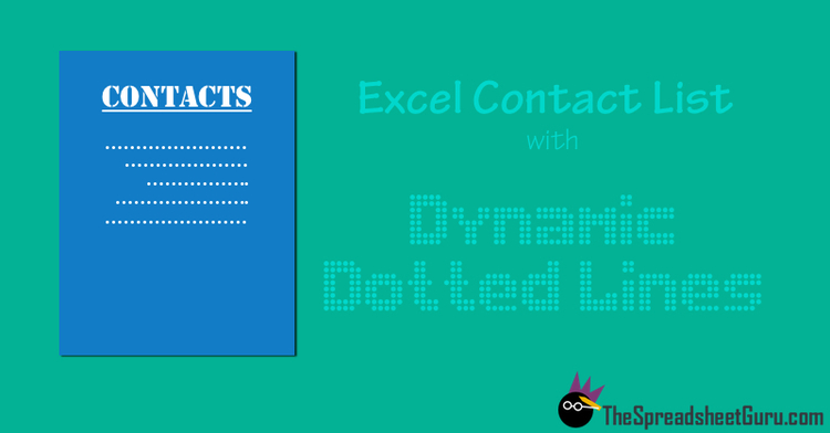 Printable Excel Contact List With Dynamic Dotted Underlines The