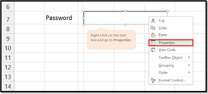 Hiding password login information in Microsoft Spreadsheet