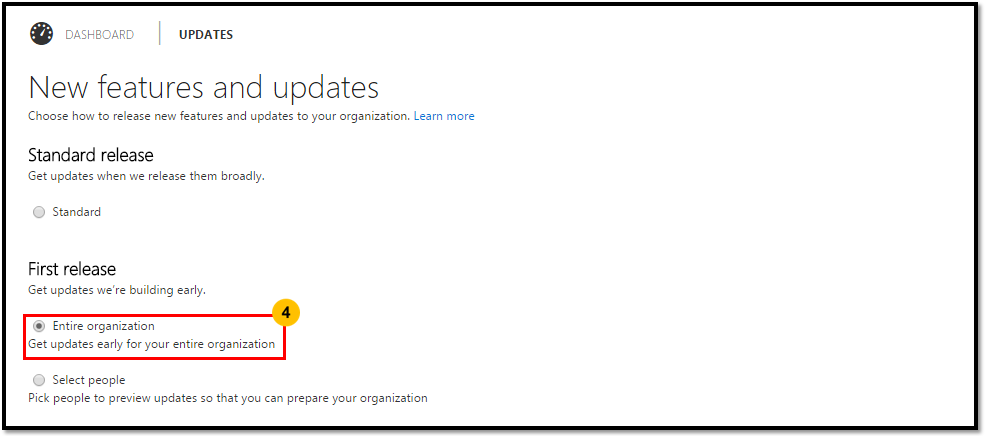 First Release Setting Office 365