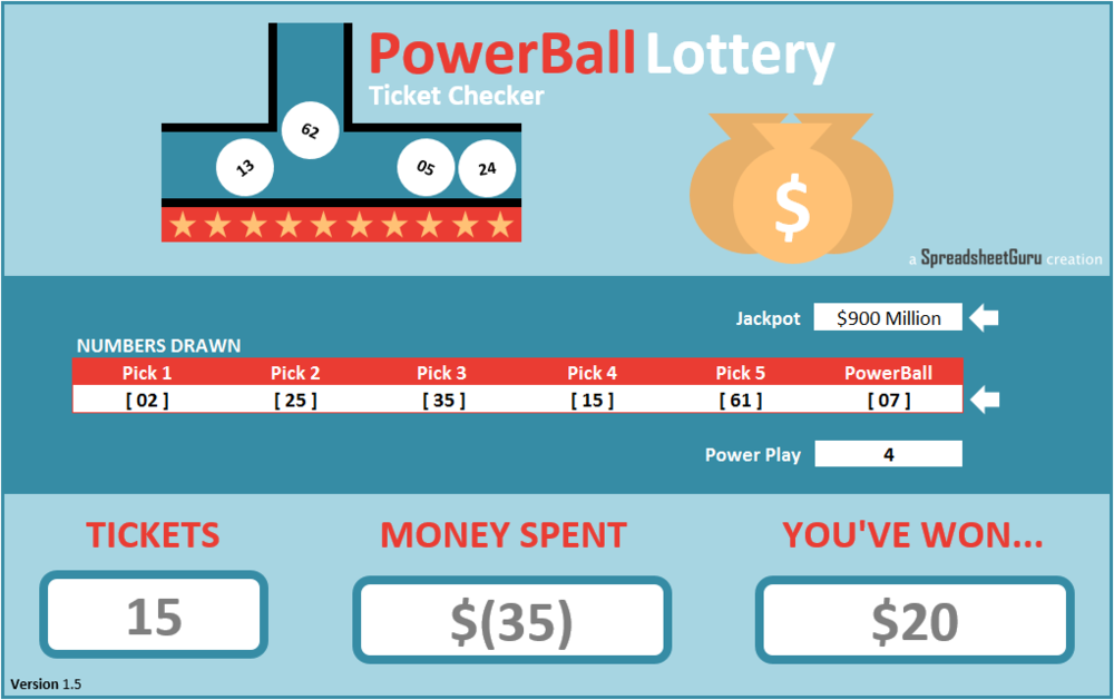 PowerBall Lottery Calculator Excel Spreadsheets Dashboard Model