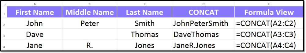 Concat Formula In Excel 2016 Spreadsheet