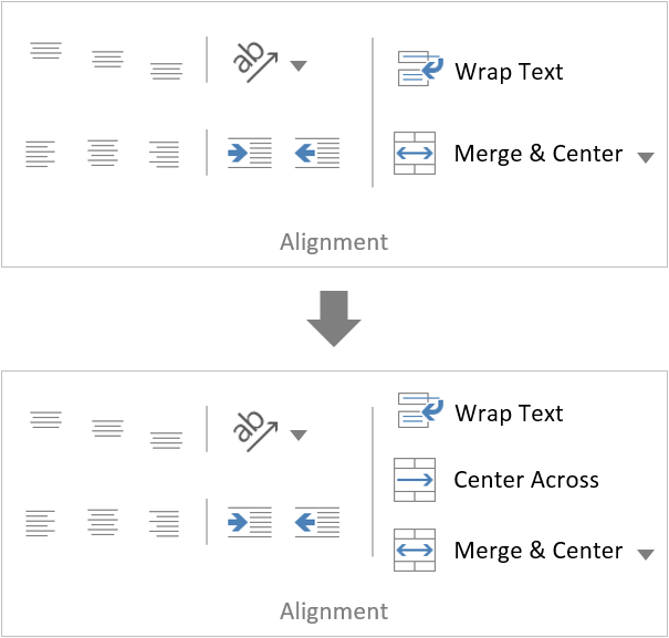 Excel Center Across Selection Ribbon Button Range Alignment Group