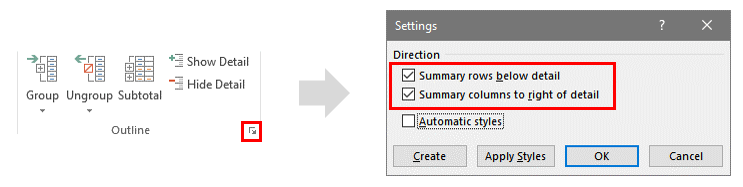 Steps to Change Settings for Outline Groups in Excel
