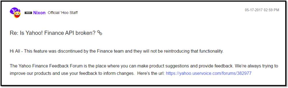 Yahoo Finance Moderator Response