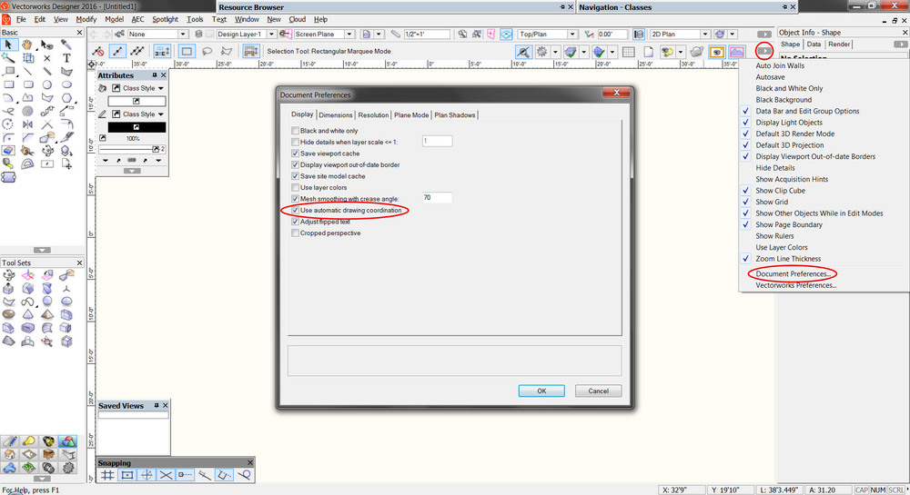 Automatic Drawing Coordination is a setting that allows Vectorworks to automatically coordinate the naming of certain elements, such as Sheet Numbers, Sheet Names, and Drawing Titles. Since it's a per-document setting, if you change it in one file it doesn't affect other files. If you make sure that it's on in the template from which you start new projects, you won't have to worry about this step again!