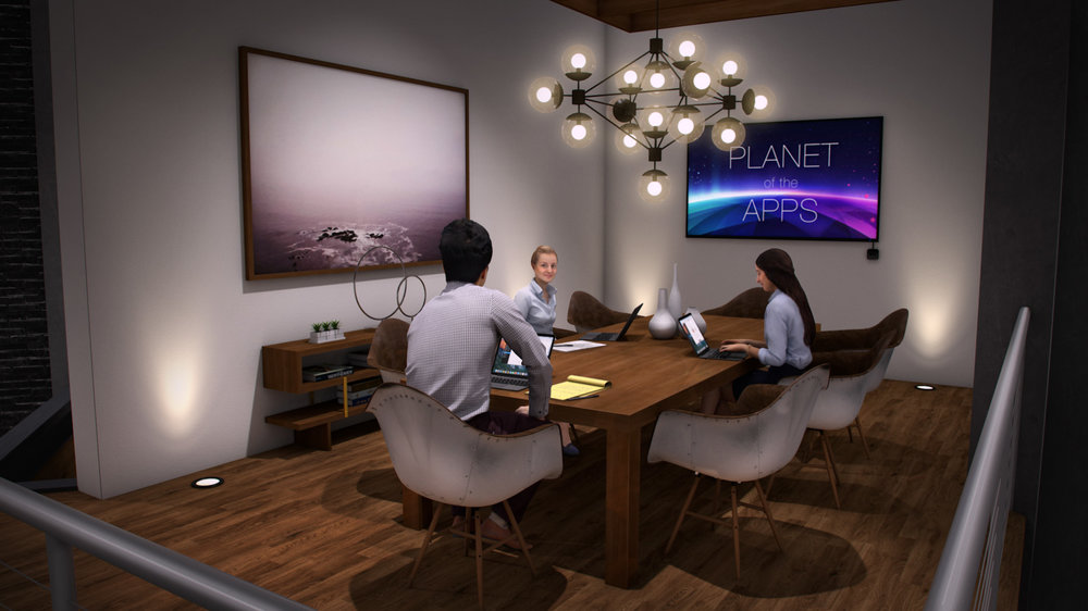 Production design concept illustration for the conference room set, part of Apple's  Planet of the Apps  TV show. Vectorworks rendering by Andy Broomell.