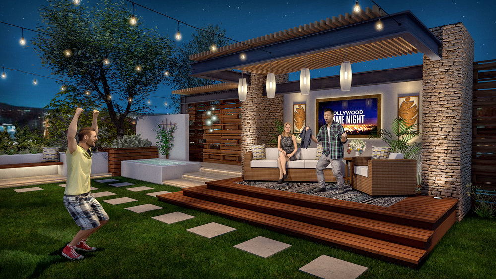 Production design concept illustration for the lounge set, part of Apple's  Planet of the Apps  TV show. Vectorworks rendering by Andy Broomell.