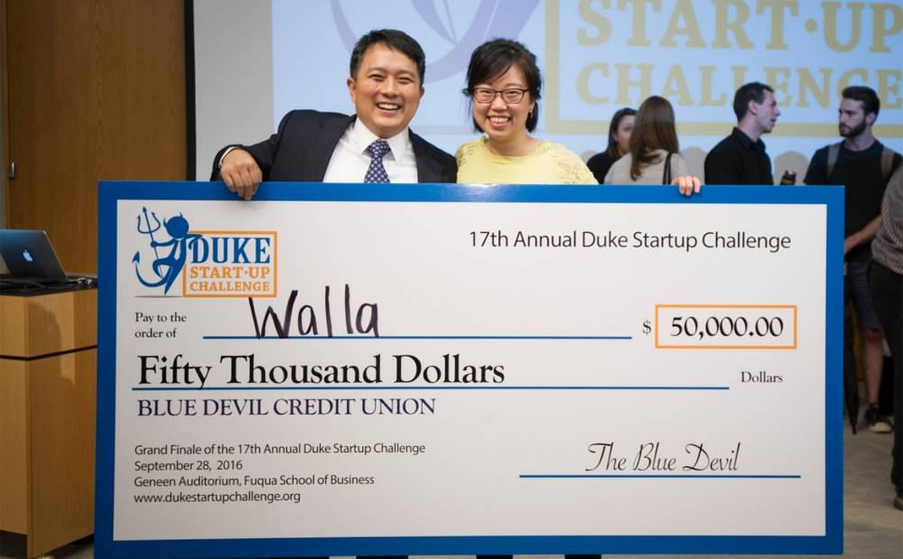 Judy Zhu, founder of app startup Walla, and her Melissa & Doug Program mentor, Howie Rhee, at the Duke Startup Challenge Grand Finale.