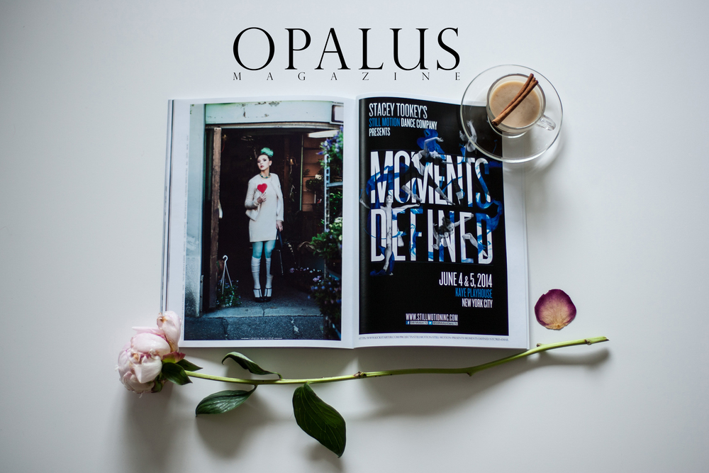 Photo of OPALUS Magazine, by Malorie Shmyr  Left - Editorial by Michela Riva      -      Right  - Moments Defined Ad