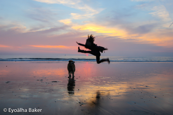Honeybee jumping for joy with the setting sun and Molly dog at Marina Del Ray Beach, California.
