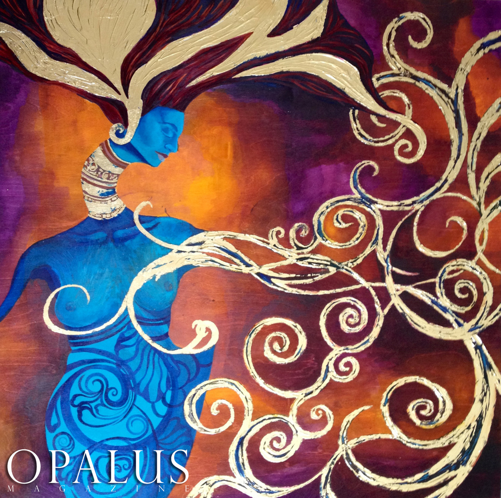 PAINTING BY EDITOR OF OPALUS MAGAZINE, MALORIE SHMYR INK, GOLD LEAF, AND RESIN ON BIRCH WOOD PANEL 4X4 FOOT