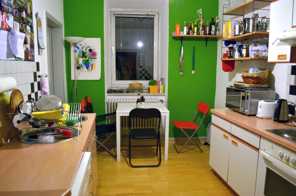 Here is our cool and small kitchen! We all eat together here!