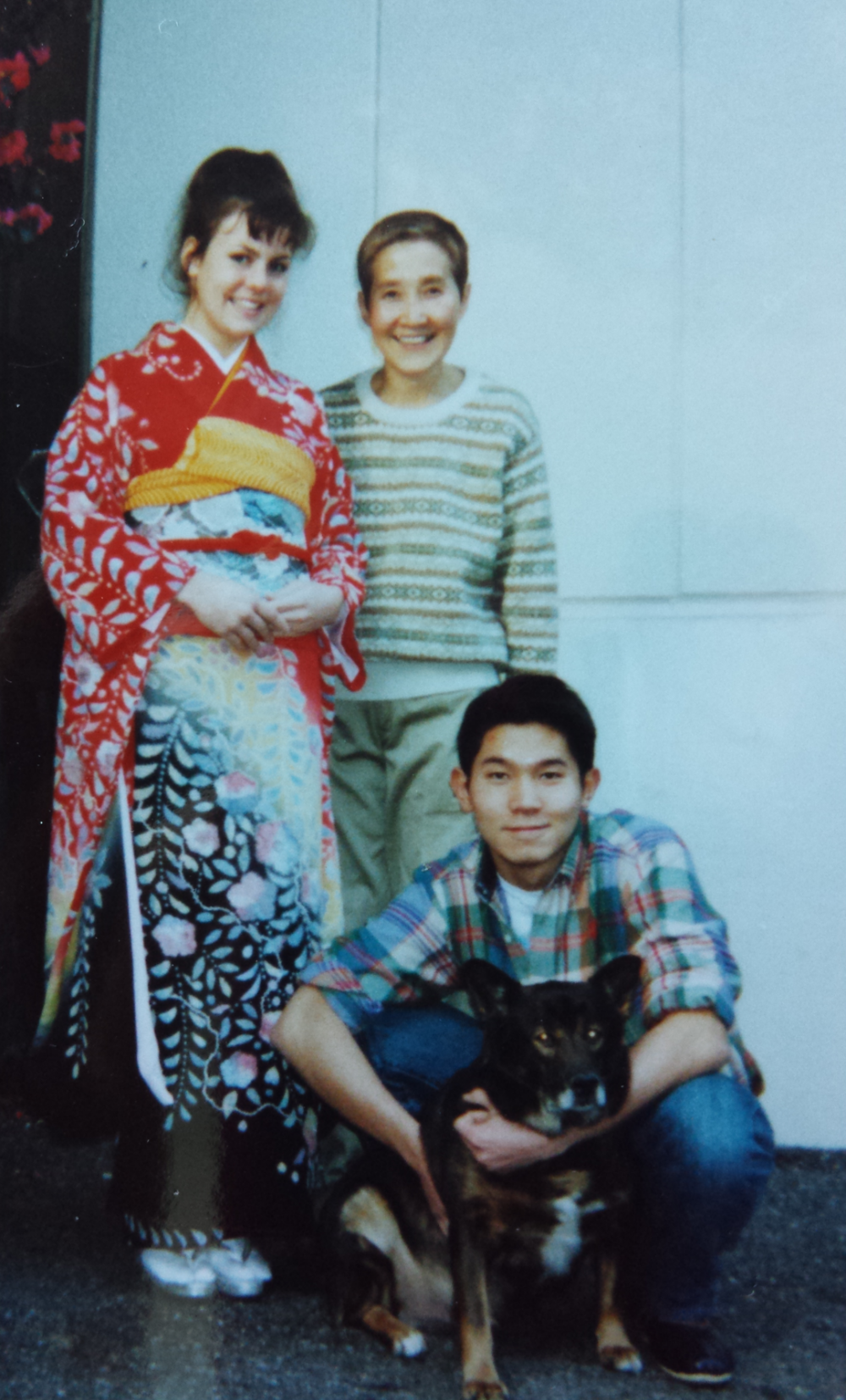 With my boyfriend Motoaki, his mother and dog (Don) circa 1993-4