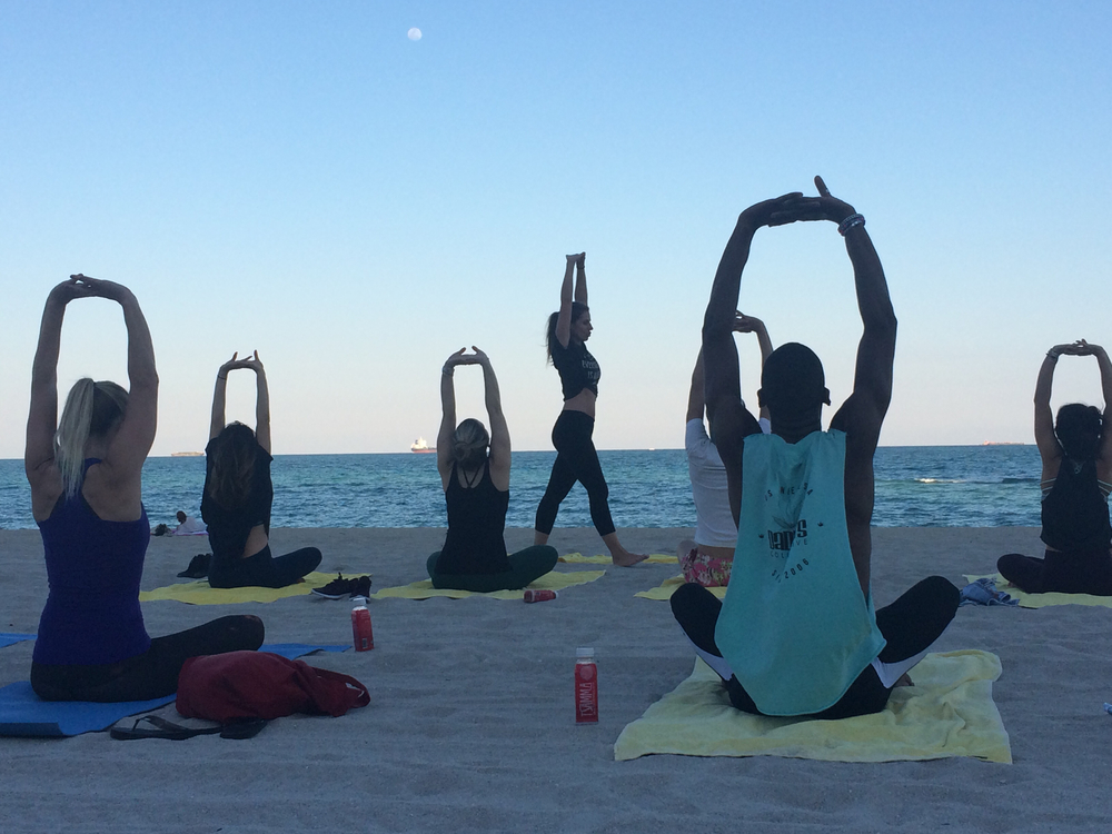 pop-up beach yoga classes