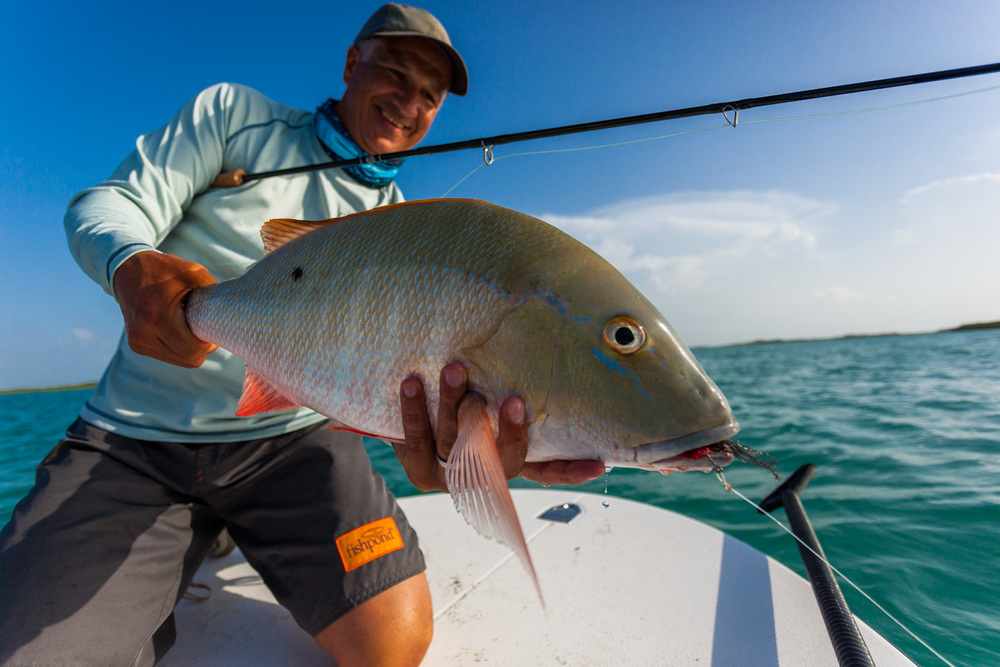 A perfect Mutton Snapper falls for Jon's fly. 17mm f/4.0 1/5000sec