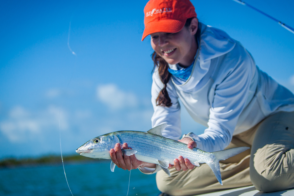 Chrysta with yet another bonefish at Abaco Lodge. 70mm f/2.8 1/8000sec