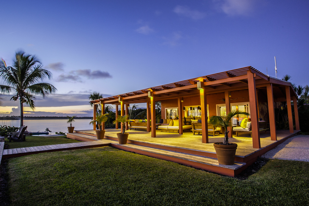 The luxurious Abaco Lodge lodge just after a brilliant Bahamian sunset. 19mm HDR