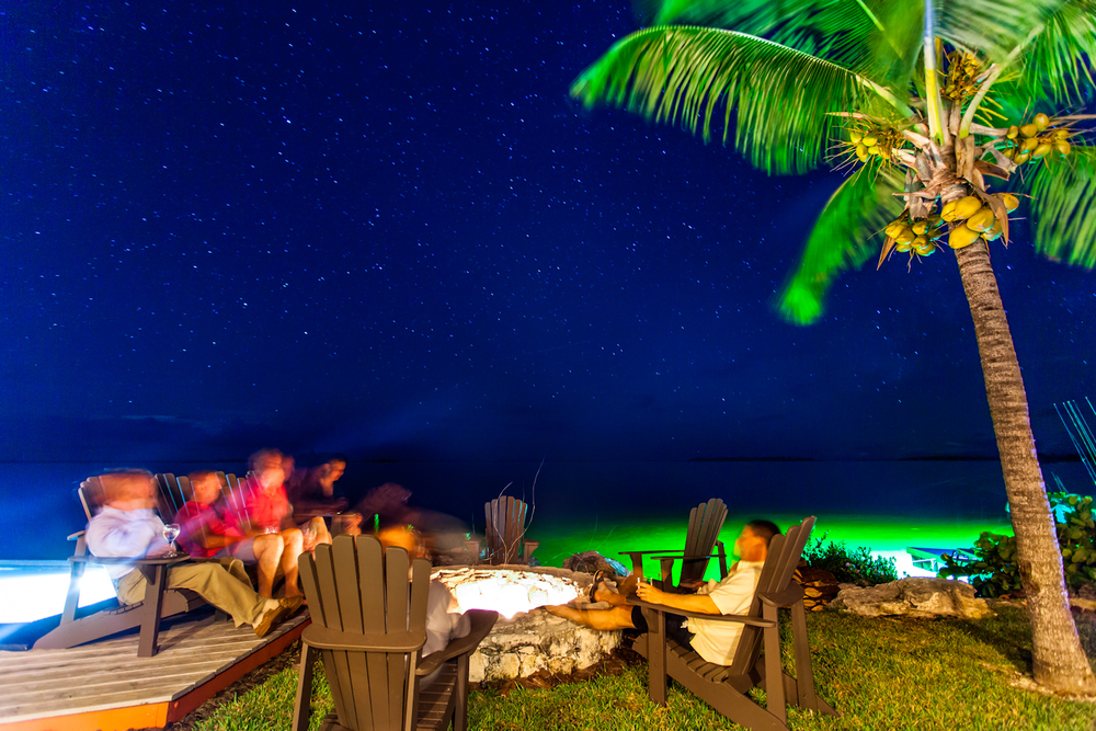Spinning fish stories by the fire is all part of the fun at Abaco Lodge in the evening. This long exposure shot is fun reminder of the fantastic group of people that became fast friends on this trip. 17mm f/4.0 57sec