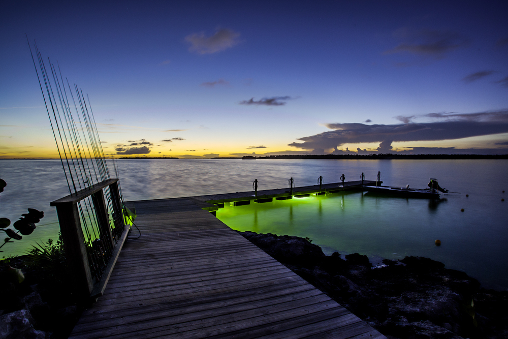 The dock at Abaco Lodge is perfect place to practice your fly casting, feed the sharks or snap a few magic hour shots. 17mm f/11 5.0sec