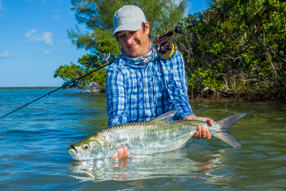 The Bahamas is not just for bonefish! A fantastic juvenile tarpon comes to hand at Abaco Lodge. You always have to be ready for alternate species while fishing the saltwater! Love the reflection here on the water. 40mm f/11 1/320sec