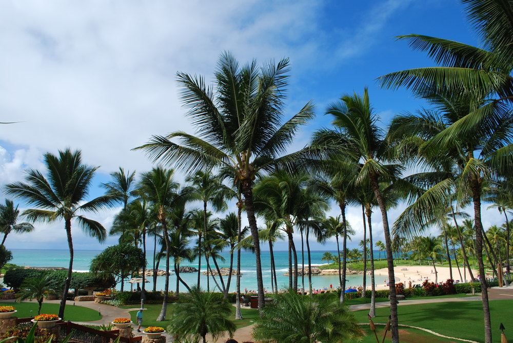 JW Marriott Ihilani Resort & Spa at Ko Olina, Oahu | Our view of the ocean from the hotel entrance was beautiful.