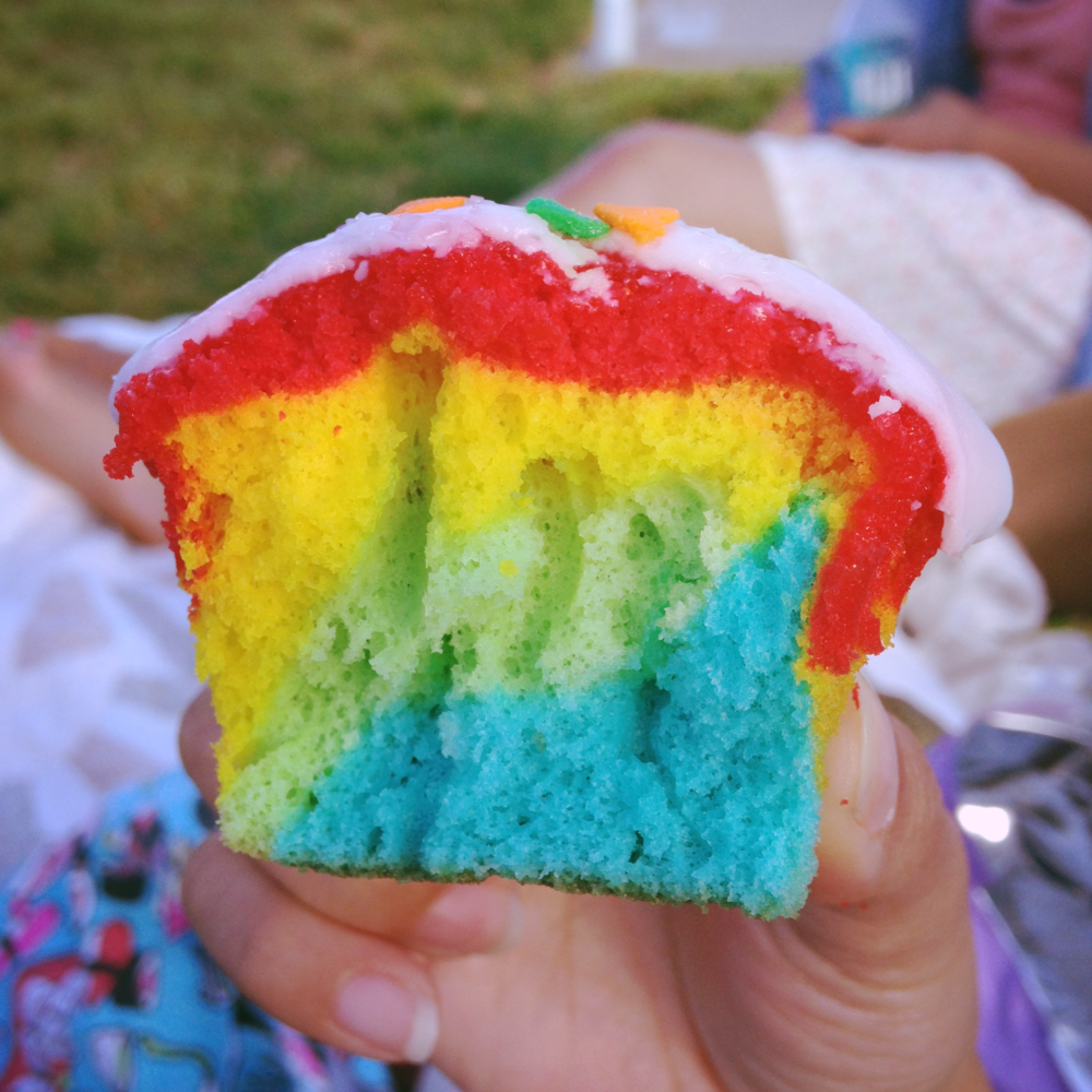 Ate a delicious rainbow cupcake...