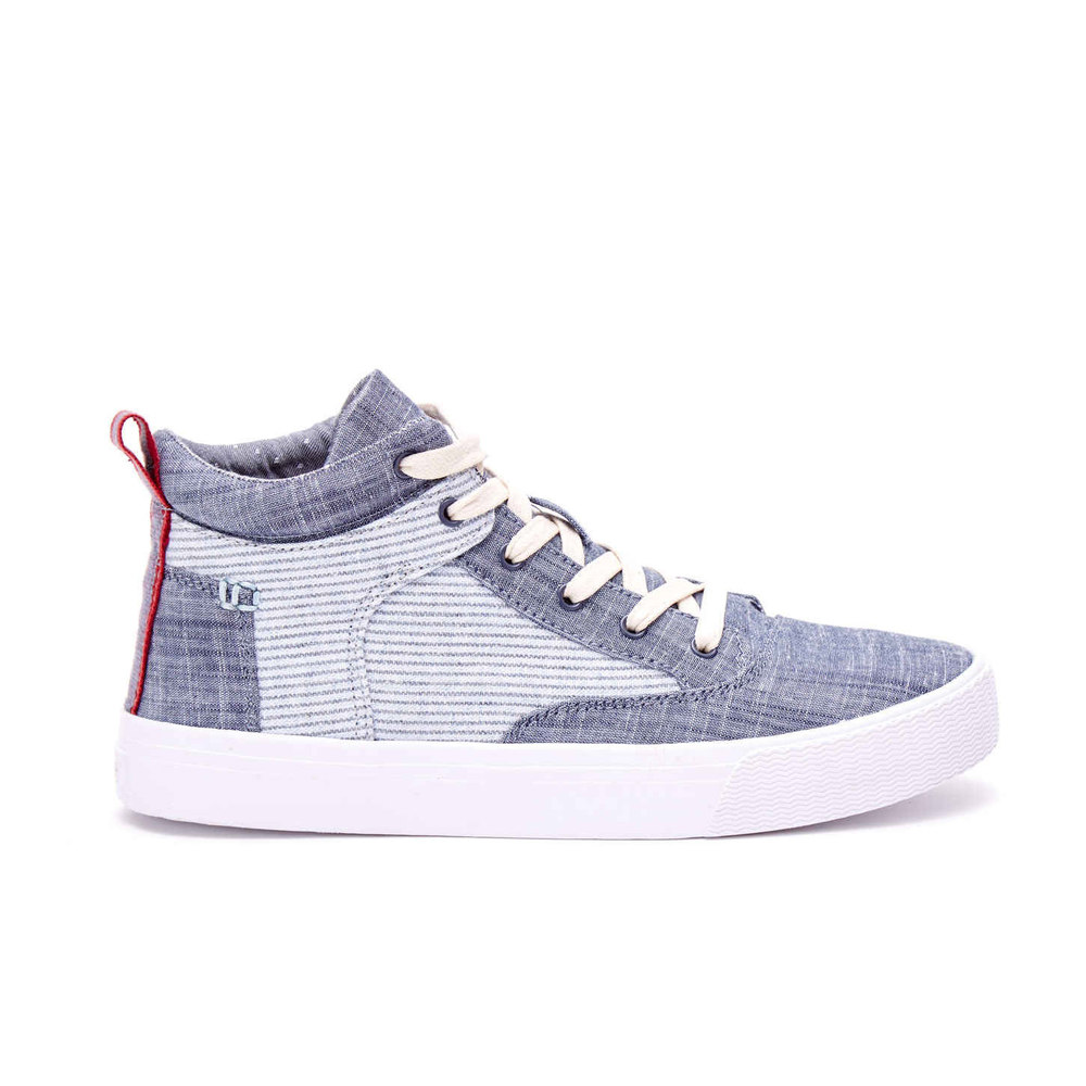 CHAMBRAY STRIPE WOMEN'S CAMILA HIGH SNEAKERS