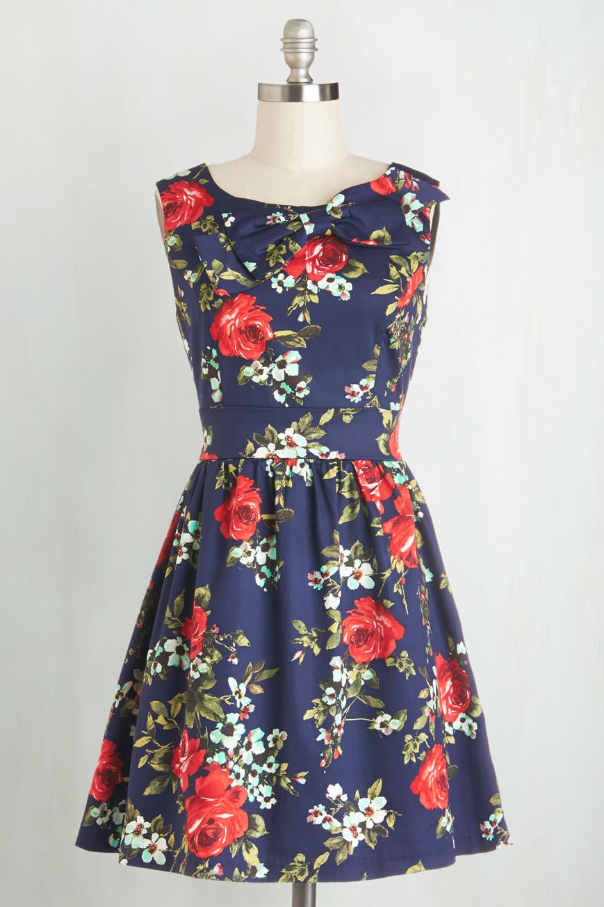 The Pennsylvania Polka Dress in Navy Floral