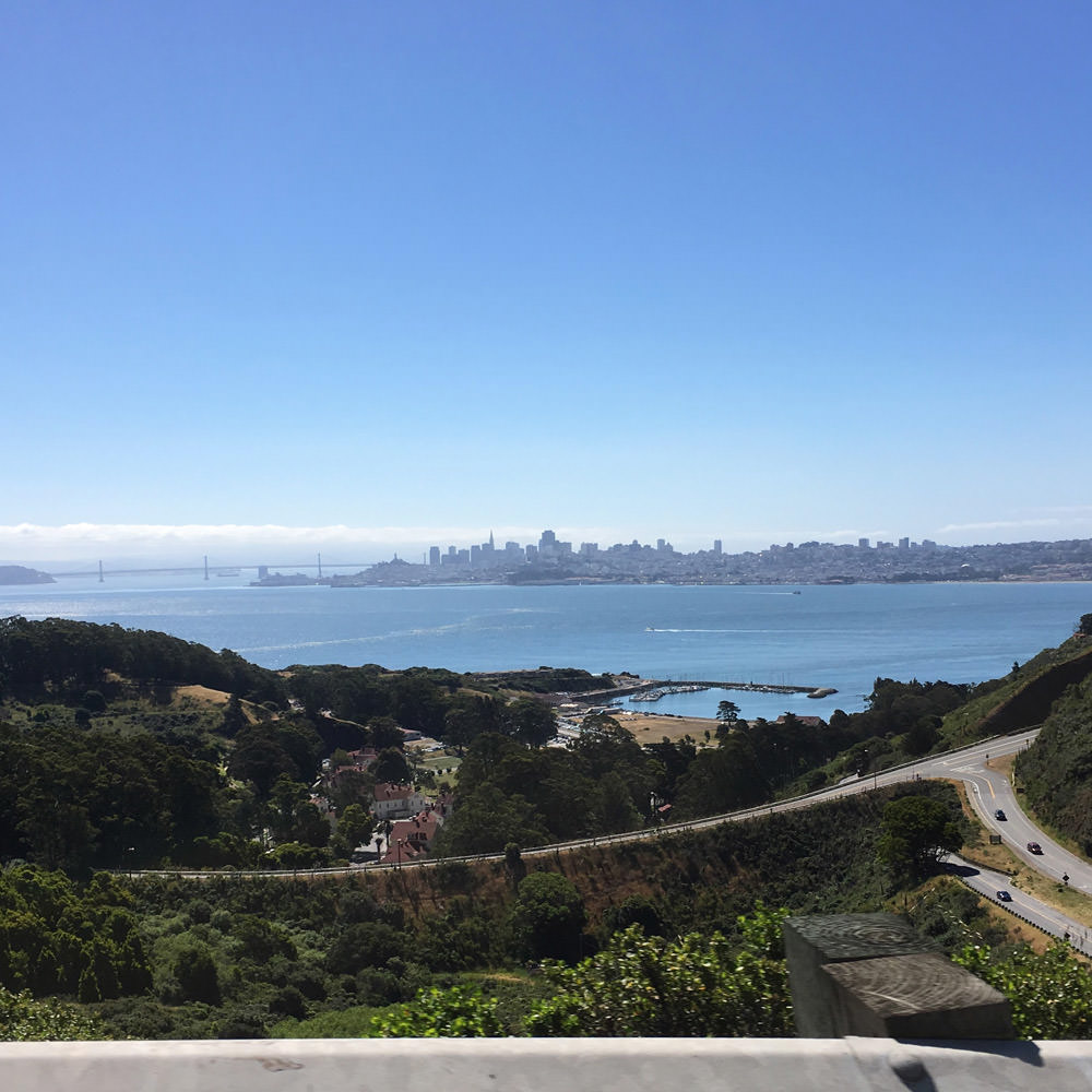 The view after having crossed the Golden Gate Bridge...