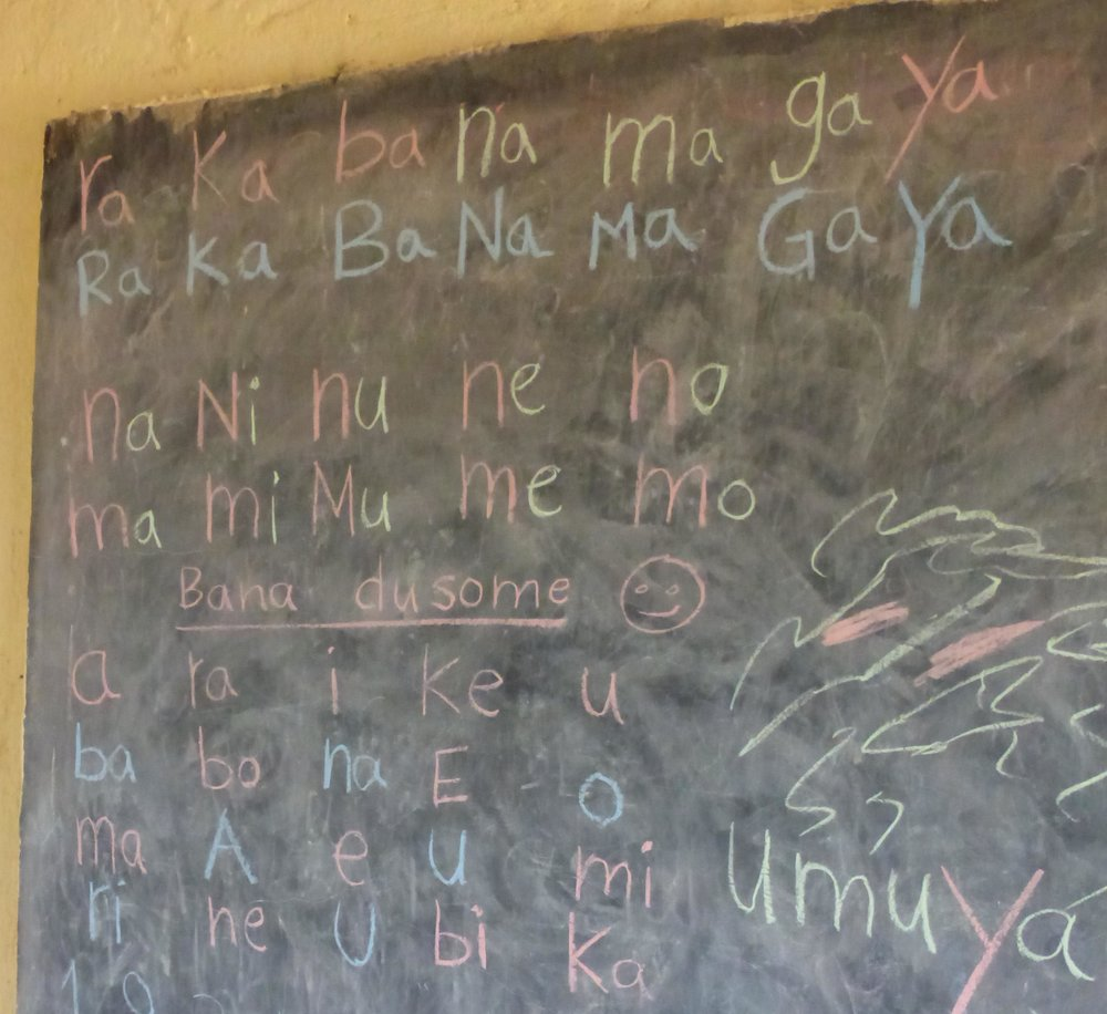 Children in most Rwandan schools spend hours copying nonsense syllables in their journals.