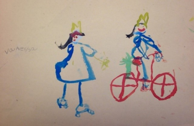Figure 1: Those are ROLLERSKATES! Totally dating myself here. I might as well have painted her carrying a rotary phone.