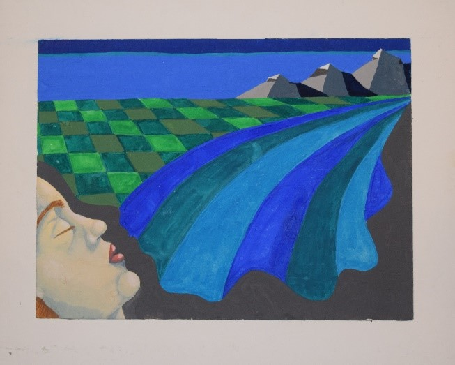 """Figure 8: Gouache on paper. Age 17. I called """"Vanessa's Dream"""" I imagined living near water and mountains. Seattle, anyone?"""
