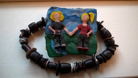 Figure 9: Age 18. Fimo necklace, and what my mom and I would've looked like as Claymation.